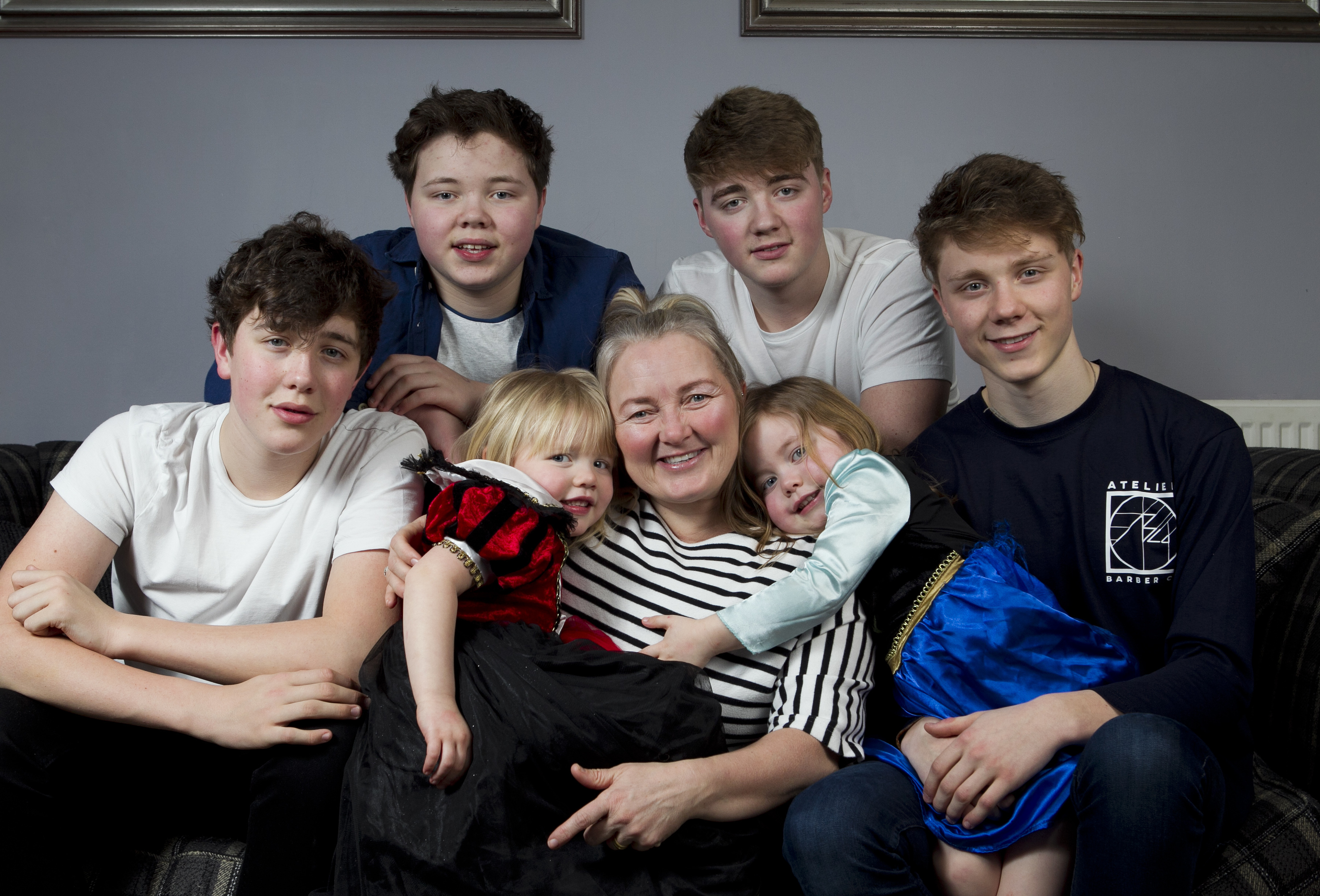 Karen Rodger and her three sets of twins: Lewis, Kyle, Finn, Jude, and girls Isla and Rowan (Andrew Cawley / DC Thomson)