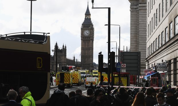 Ambulances, police vehicles and emergency services seen on Westminster Bridge (Carl Court/Getty Images)
