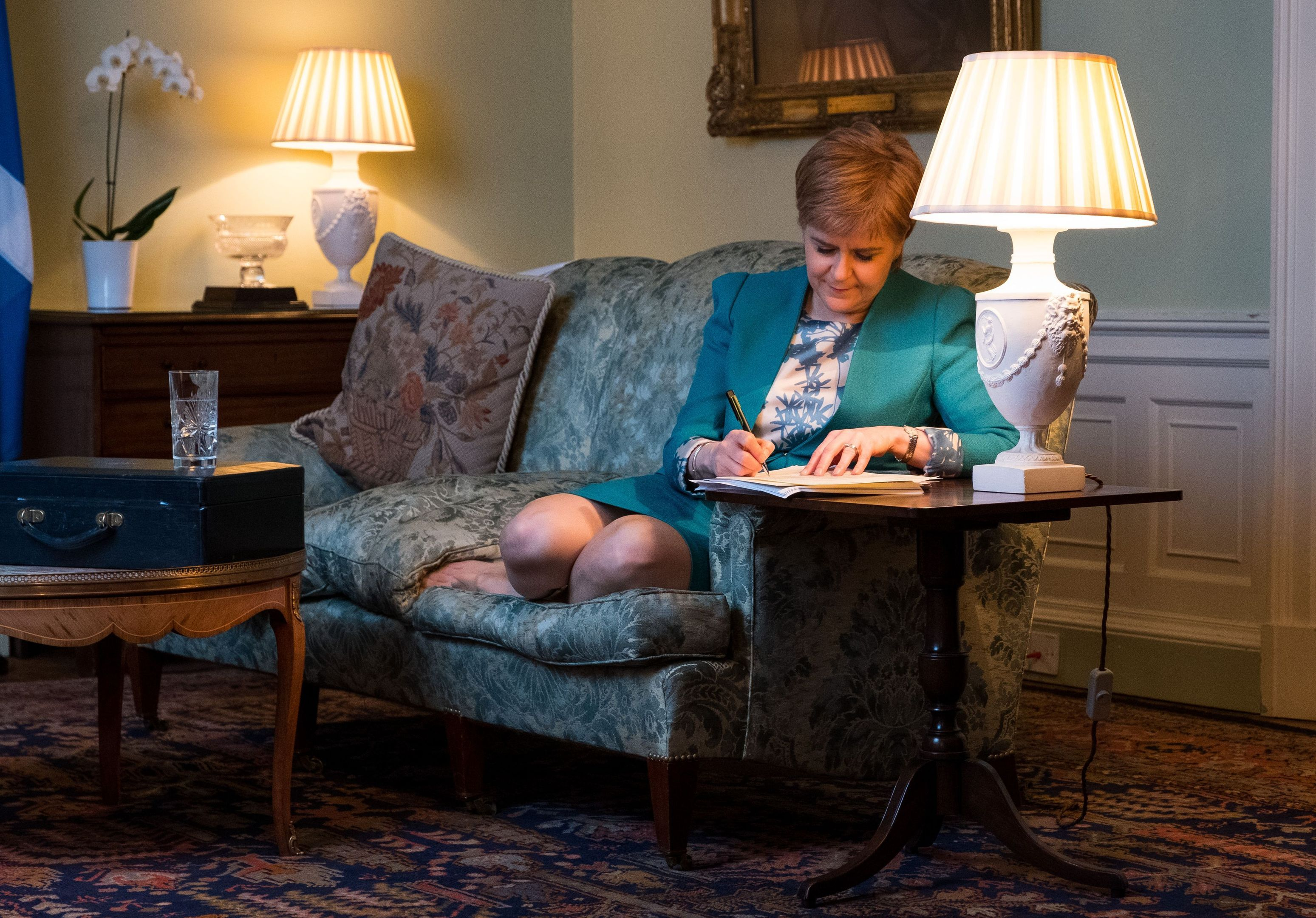 Nicola Sturgeon working on the final draft of her Section 30 letter (Scottish Government/PA Wire)