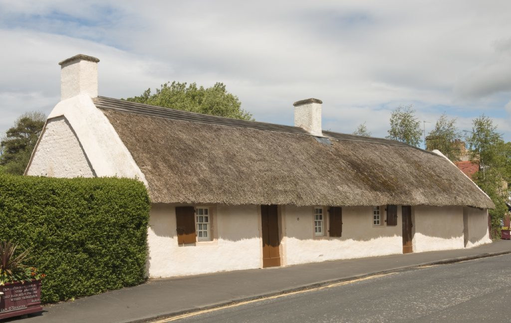 The thatched cottage in Alloway on the outskirts of Ayr, where the poet Robert Burns was born in 1759. (Getty Images)