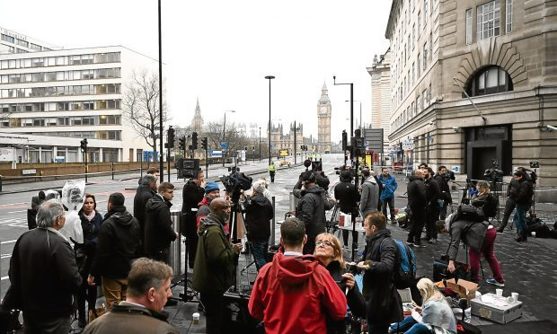 Journalists gather to report following the Westminster attacks (Carl Court/Getty Images)