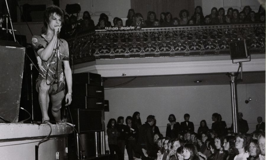 "David Bowie in Ziggy Stardust guise tries to win over a rather sceptical Aberdeen audience at the Music Hall in 1973."" (AJL)"