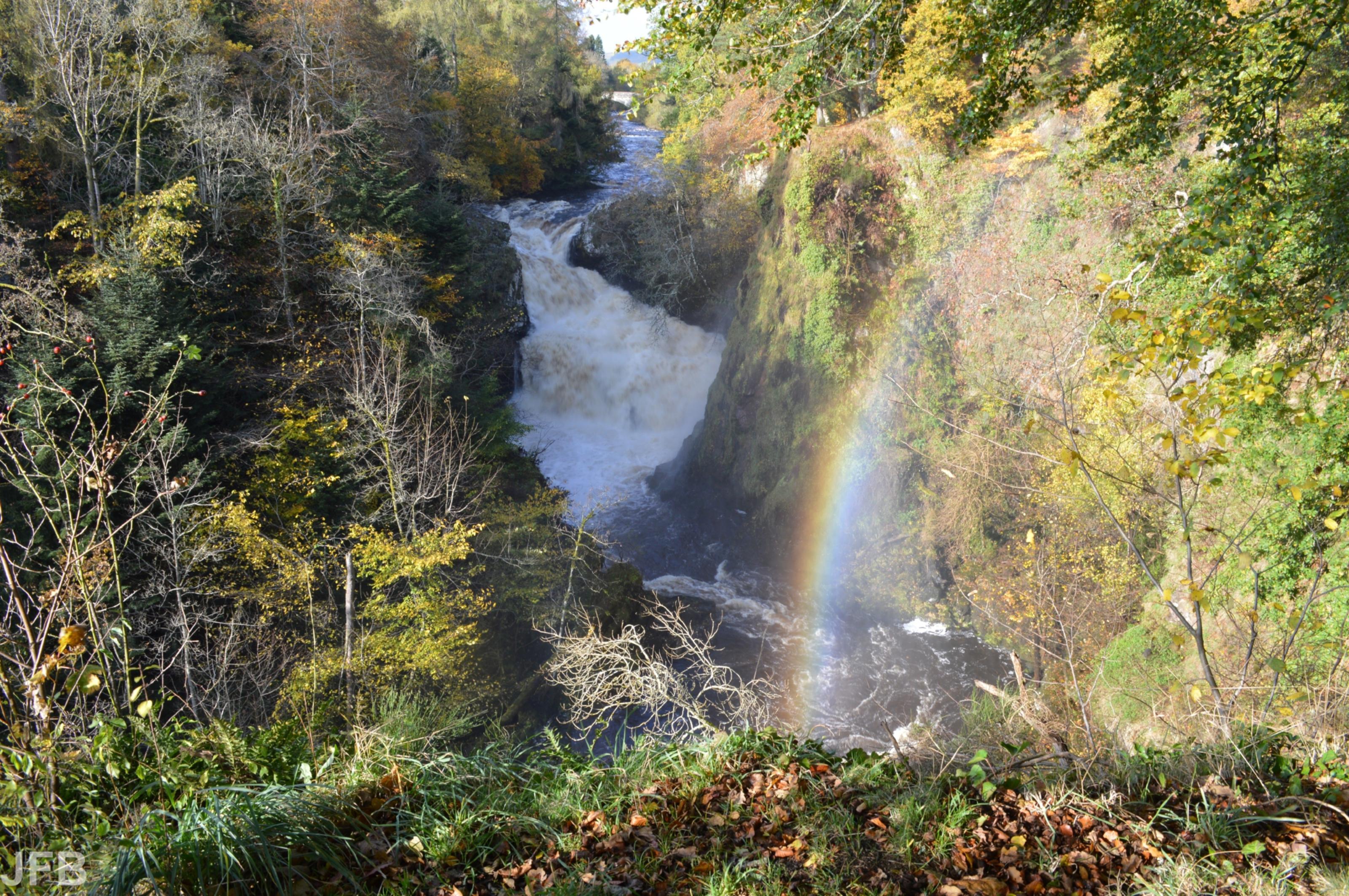 Turbulent water and rainbow at Reekie Linn  (Jim Burns)