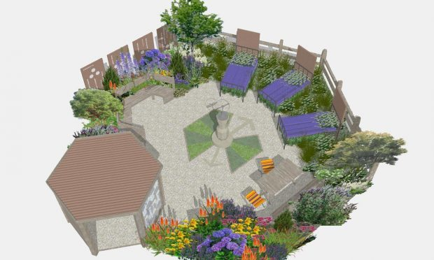 A garden designed by Jane Bingham and Penny Hearn featuring plants popular in the 1960s and 1970s, which will comfort people with dementia and form part of the Royal Horticultural Society's (RHS) Tatton flower show this summer. (Royal Horticultural Society/PA Wire)