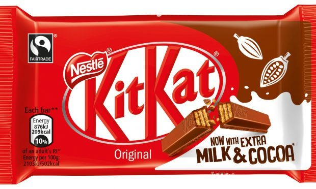 The new KitKat will contain extra milk and extra cocoa from this week as the company continues efforts to reduce sugar. (Nestle UK /PA Wire)