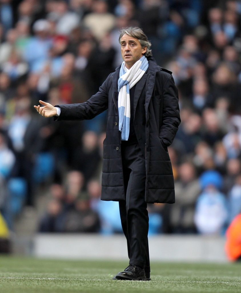 Then Manchester City manager Roberto Mancini on the touchline (PA)