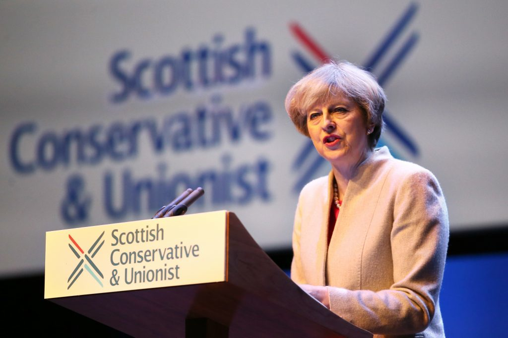 Prime Minister Theresa May speaking during the annual Scottish Conservative conference at the Scottish Exhibition and Conference Centre in Glasgow. (PA)