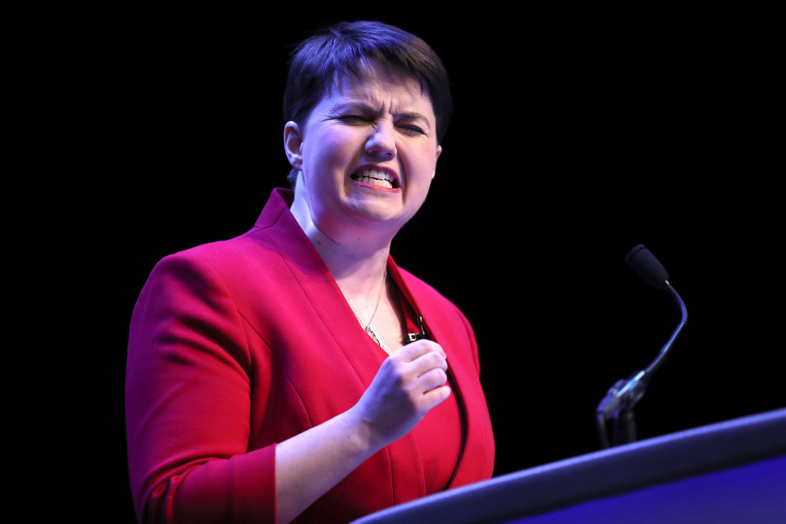 Scottish Conservative leader Ruth Davidson delivers her keynote speech at the annual Scottish Conservative conference at the Scottish Exhibition and Conference Centre in Glasgow. (Jane Barlow/PA Wire)