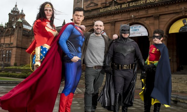 Glasgow born artist Frank Quitely is joined by Superman, Batman and Robin and Wonder Woman as they launch the exhibition (SNS Group / Alan Harvey)