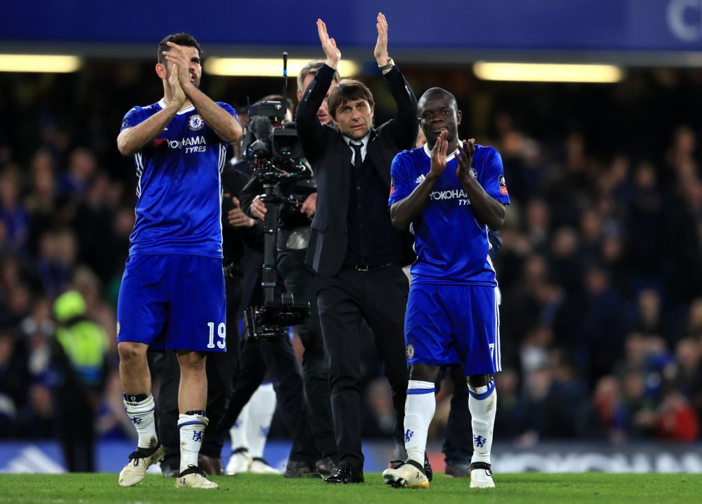 Chelsea manager Antonio Conte and players Ngolo Kante (right) and Diego Costa celebrate at full time during the Emirates FA Cup, Quarter Final match at Stamford Bridge, London. (Adam Davy/PA Wire.)