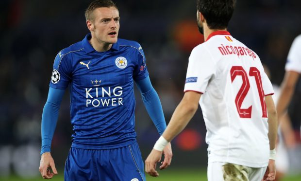 Tempers flare between Sevilla's Nicolas Pareja and Leicester City's Jamie Vardy during the UEFA Champions League (Nick Potts/PA Wire)