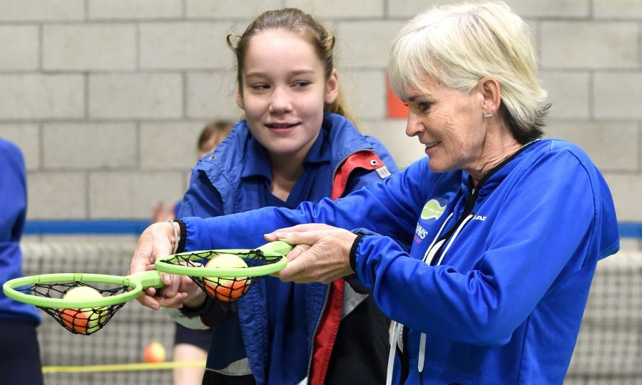 Judy Murray as she promotes girls tennis at St George's School for Girls, Edinburgh (Lesley Martin/PA Wire)