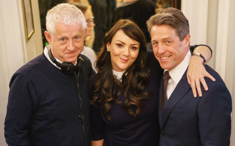 Richard Curtis, Martin McCutcheon and Hugh Grant on set (@EmmaFreud / Twitter)