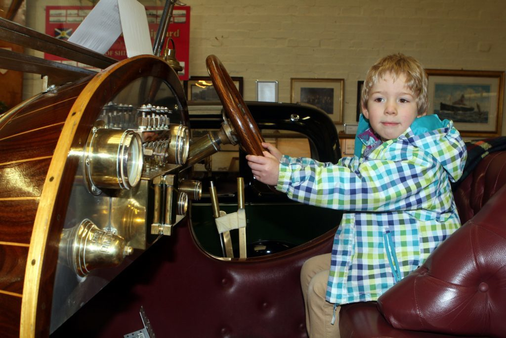 Dundee Museum of transport, pic shows: Lewis Shearer 5 from Dundee at Chitty Chitty Bang Bang (Evening Telegraph, DC Thomson)