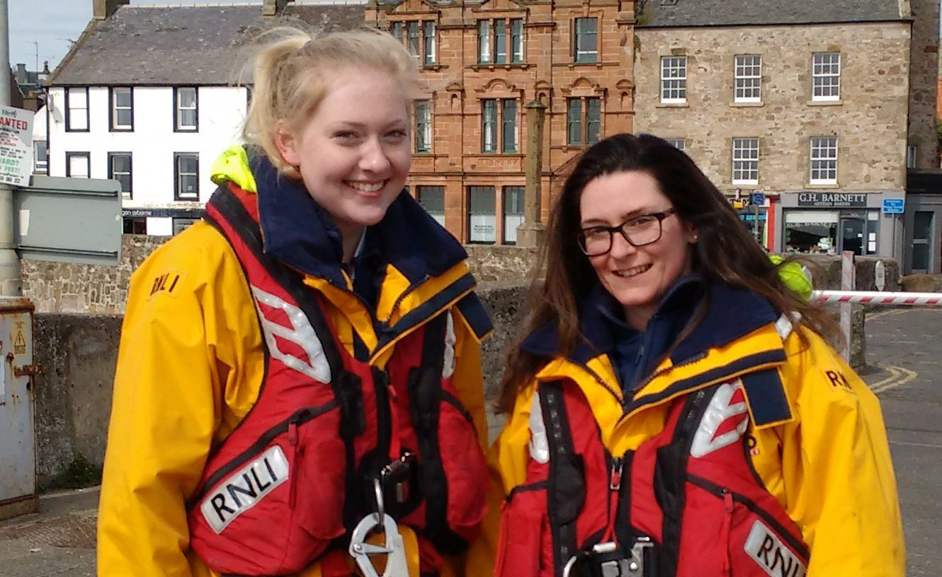 Danielle Marr 18 (left) and Louise McNicoll, 30, after their first emergency call out on the Anstruther lifeboat (Anstruther RNLI/PA Wire)