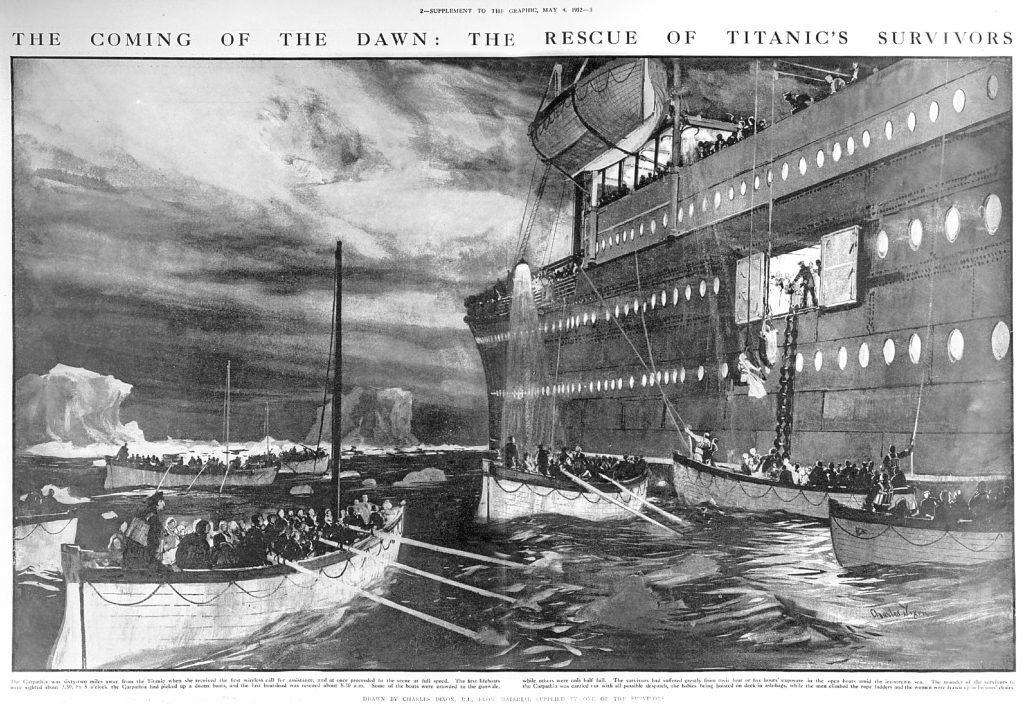 The Carpathia arrives to pick up survivors in lifeboats from the Titanic (Hulton Archive/Getty Images)