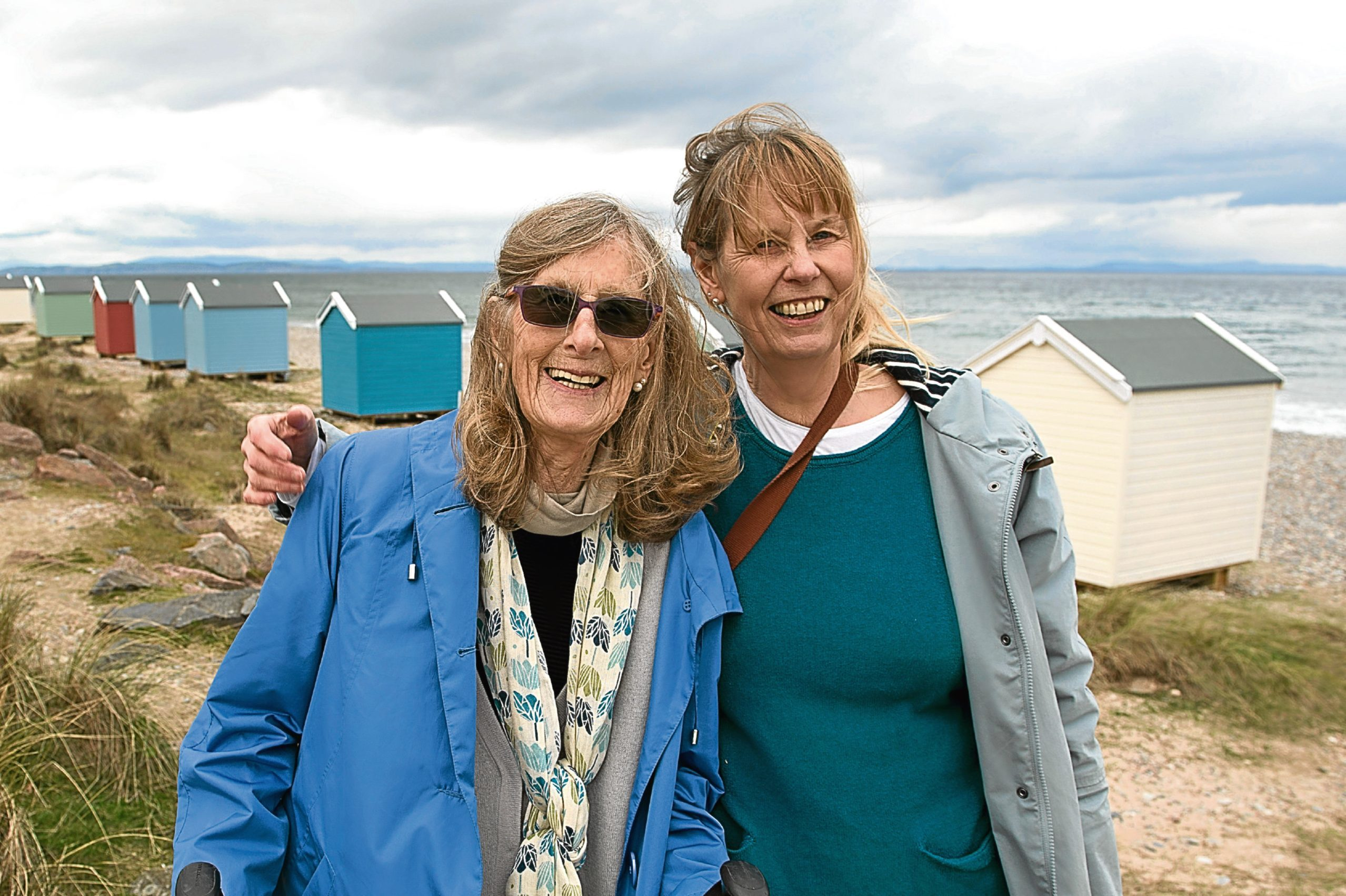 Dr Jane Miller, 60, and her 82-year-old mum Marina Miller with their £ 25,000 beach hut in Findhorn on the Moray coast (Trevor Martin)