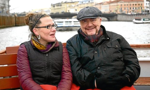 Actor Brian Cox with his daughter, Margaret, in Leningrad