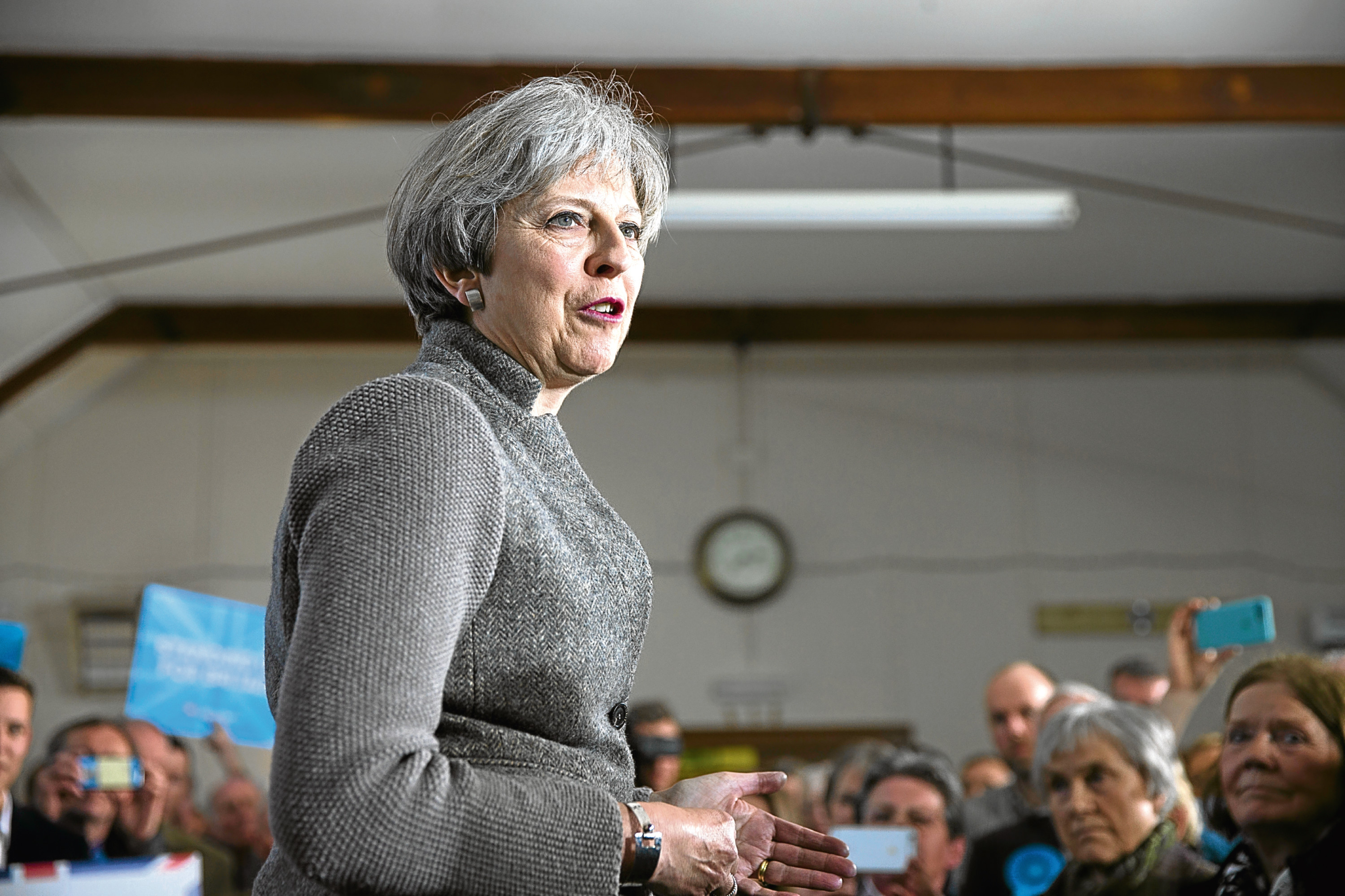 Prime Minister Theresa May makes her first campaign visit to Scotland ahead of June's snap general election. (Ross Johnston/Newsline Media)