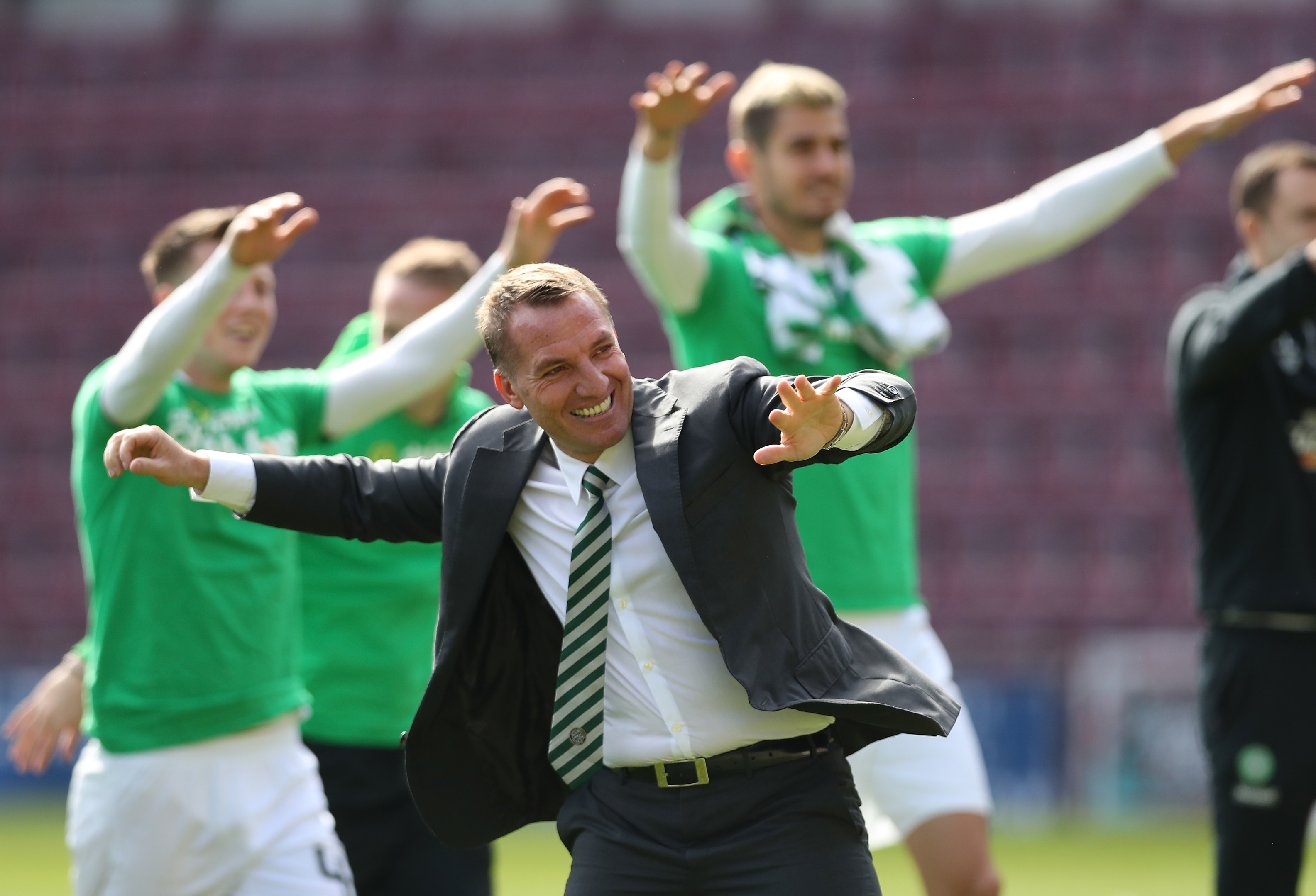 Brendan Rodgers celebrates winning the league title (Ian MacNicol/Getty Images)