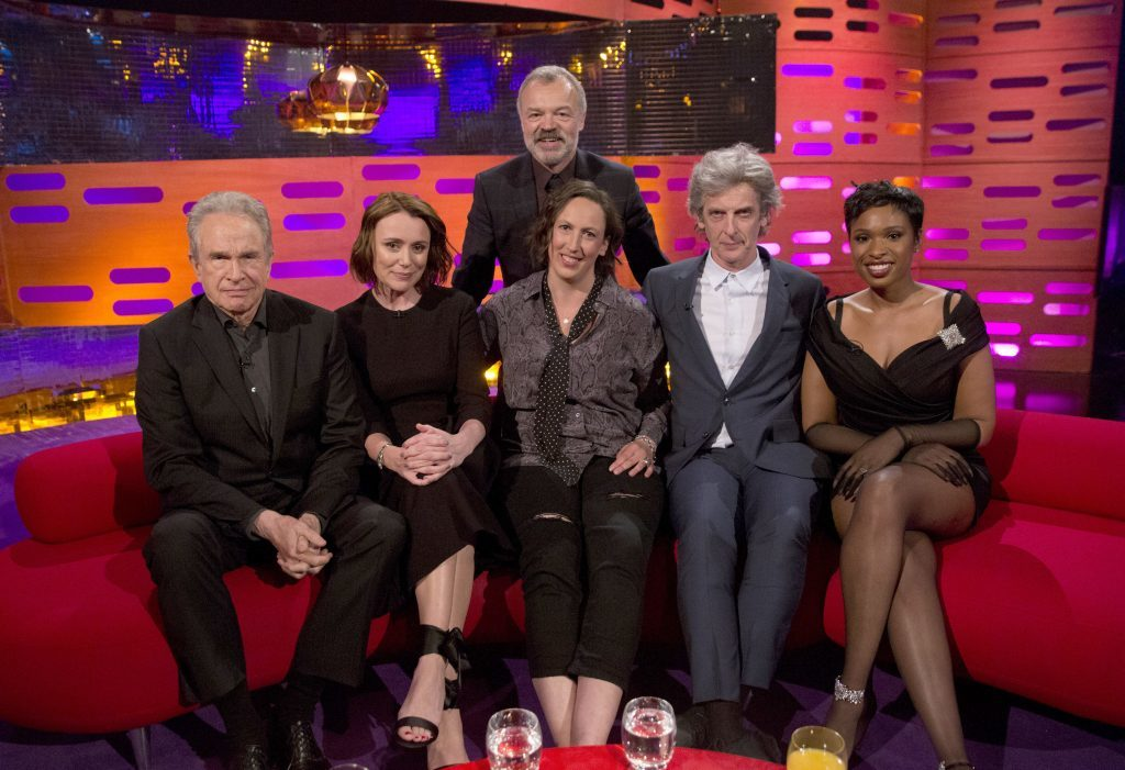 Host Graham Norton with (seated left to right) Warren Beatty, Keeley Hawes, Miranda Hart, Peter Capaldi and Jennifer Hudson (PA Images on behalf of So TV)