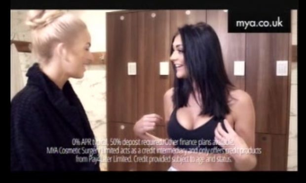 An ad for MYA Cosmetic Surgery which has been banned for being irresponsible and likely to cause harm (ASA/PA Wire)