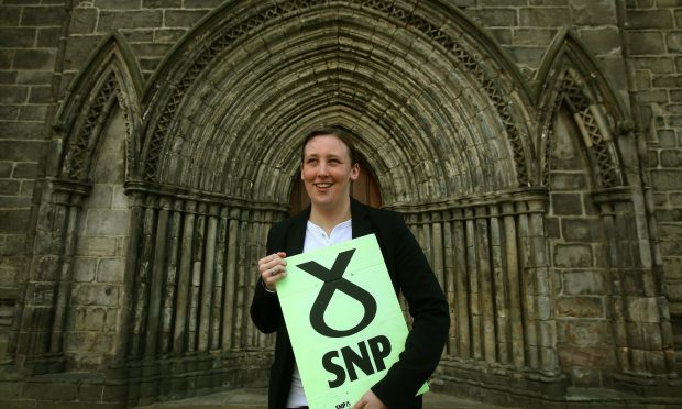 SNP MP Mhairi Black on the local election campaign trail at Paisley Abbey. (Andrew Milligan/PA Wire)