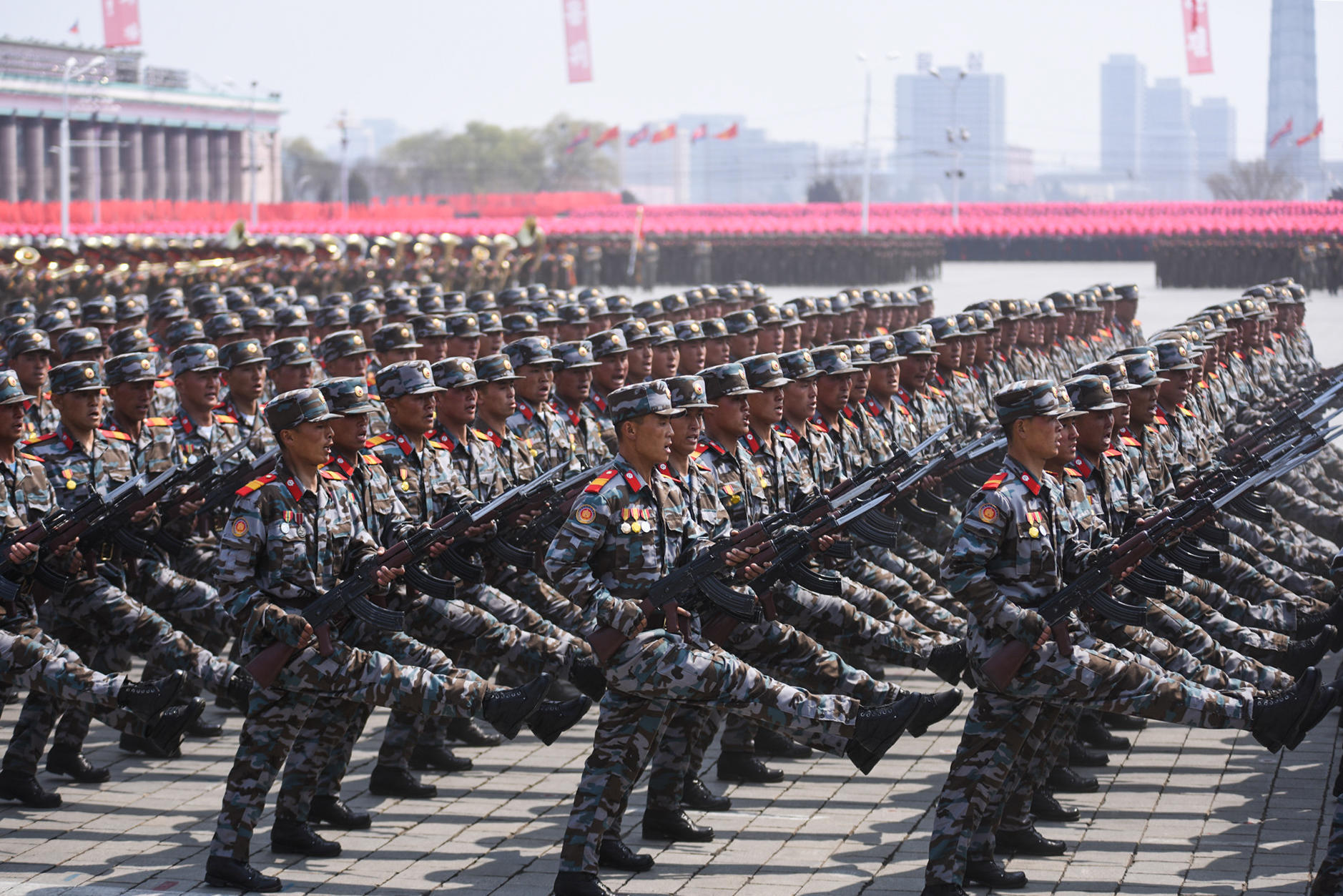 Soldiers attend a military parade in central Pyongyang (Cheng Dayu/Xinhua/Alamy Live News)