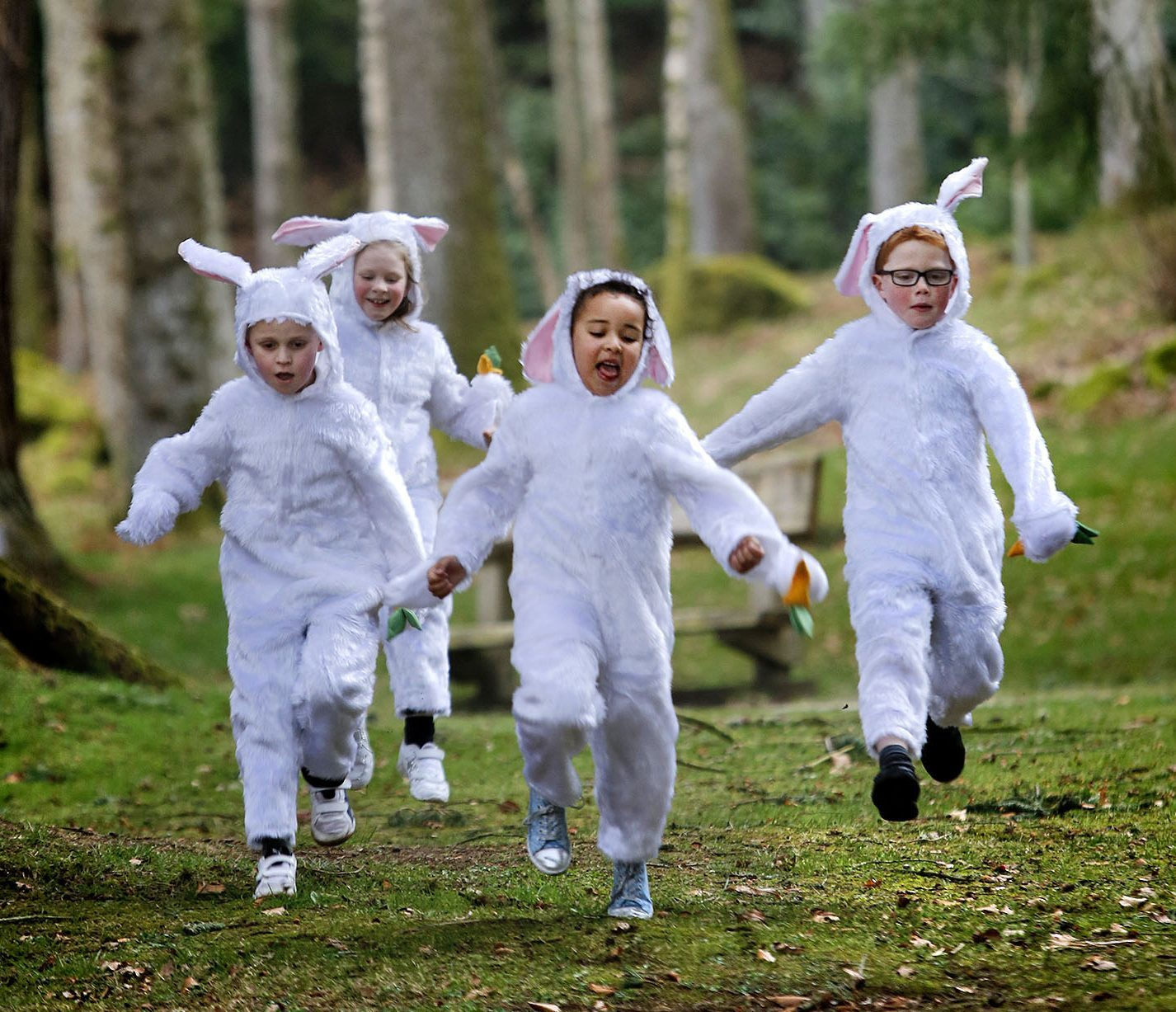 Easter Bunnies Mateusz Rozycki, Amelia Campbell, Gabriella Njuguna and Rory Hill from Hill of Banchory Primary get ready for the 10th annual Cadbury Egg Hunt at Crathes Castle in Aberdeenshire this Easter Weekend (14-17 April). Forty-seven National Trust for Scotland locations across Scotland will take part in the 2017 event, with over 36,000 chocolate treats on offer for participating children.