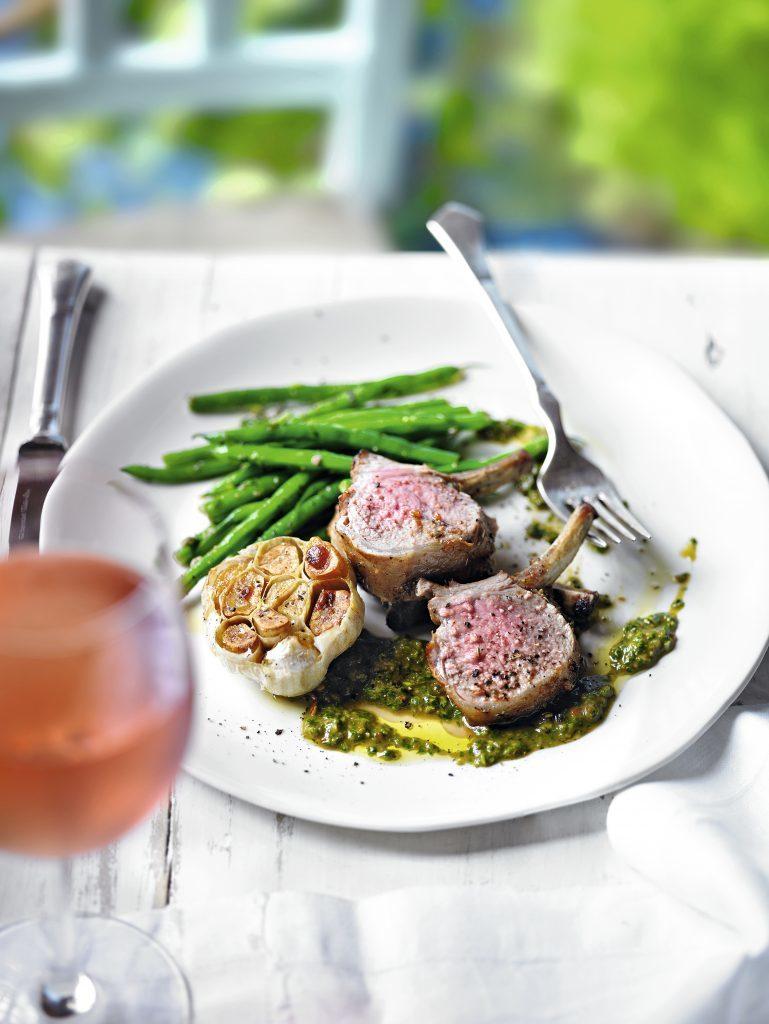 Provencal lamb racks with roasted garlic and pistou