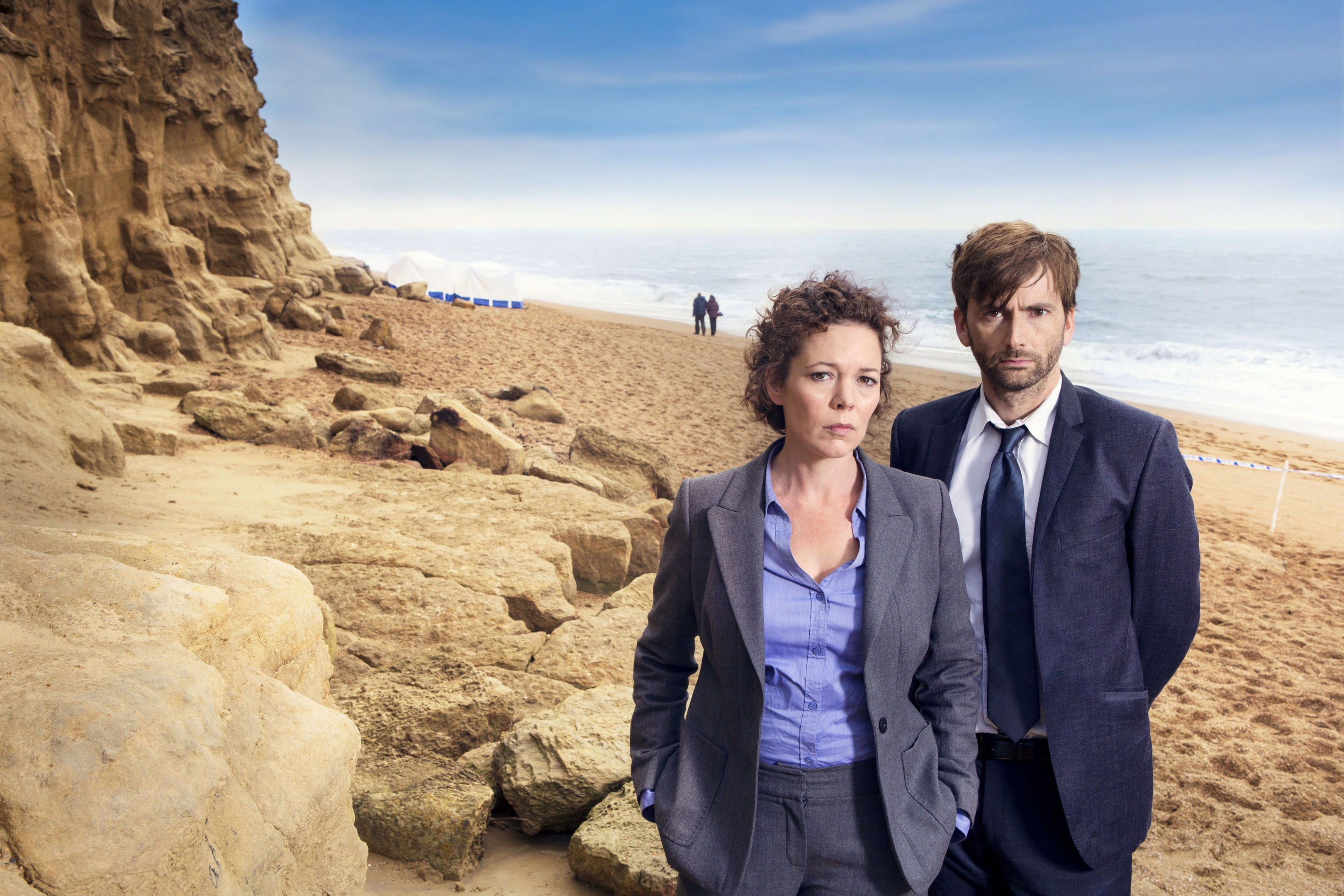 David Tennant and Olivia Colman in their roles as Detective Inspector Alec Hardy and Detective Sergeant Ellie Miller in Broadchurch (Patrick Redmond/ITV/PA Wire)