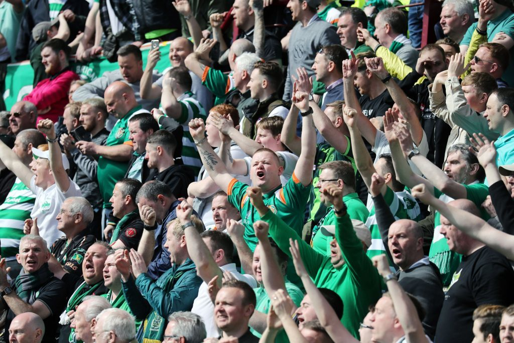 Celtic fans celebrate in the stands (Andrew Milligan/PA Wire)