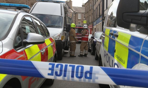 Police and Fire Brigade at the scene in Forfar (Mhairi Edwards / The Courier)