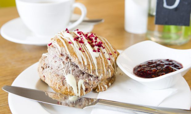 White chocolate and raspberry scone (Andrew Cawley / DC Thomson)
