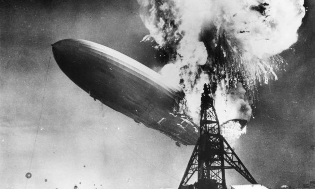 The Hindenburg disaster at Lakehurst, New Jersey, which marked the end of the era of passenger-carrying airships. (Sam Shere/Getty Images)