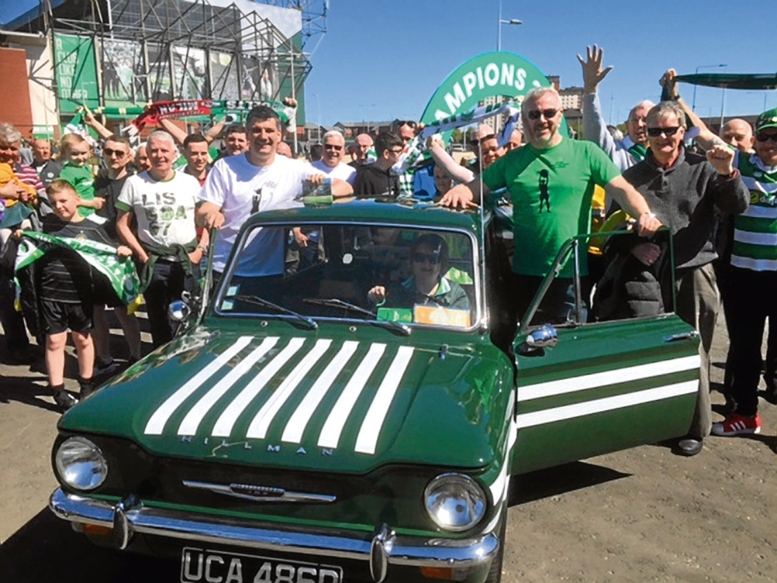 Barry Sweeney and Martin Coyle, who are driving their hillman Imp to Lisbon to celebrate Celtic's European cup win.