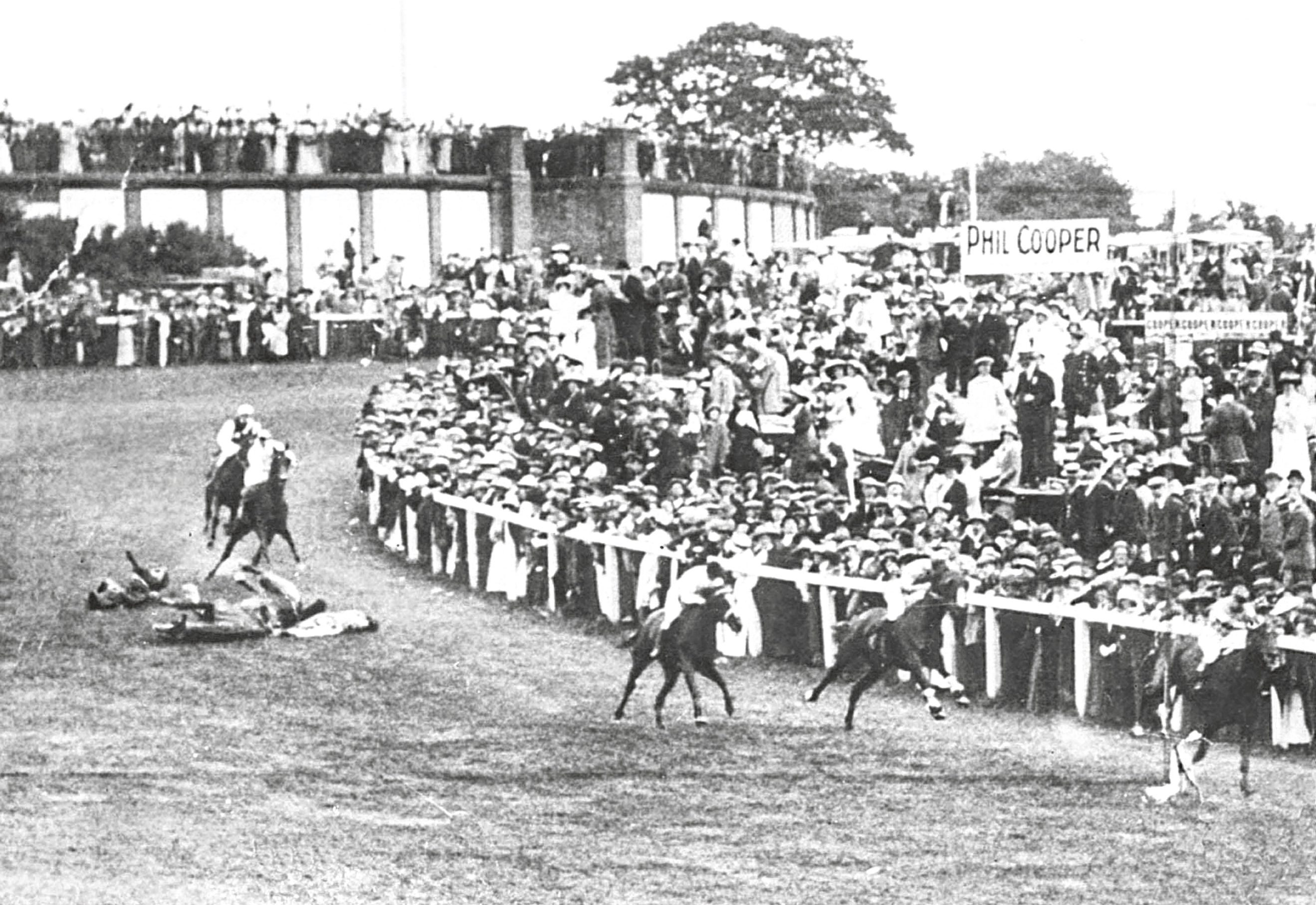Suffragette Emily Davison throwing herself under King George V's horse Anmer at the Epsom Derby (PA Archive/PA Images)