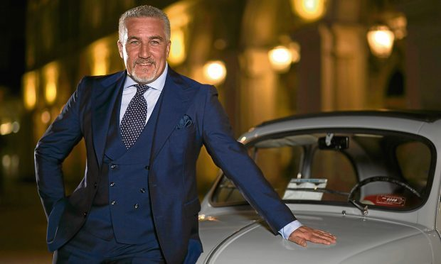 Paul Hollywood with a classic Fiat 500 in Piazza San Carlo, Turin (PA Photo/BBC/Nathaniel Bullen)