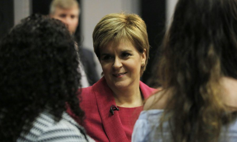 Nicola Sturgeon greets attendees during The ITV Leaders Debate (Matt Frost/ITV via Getty Images)
