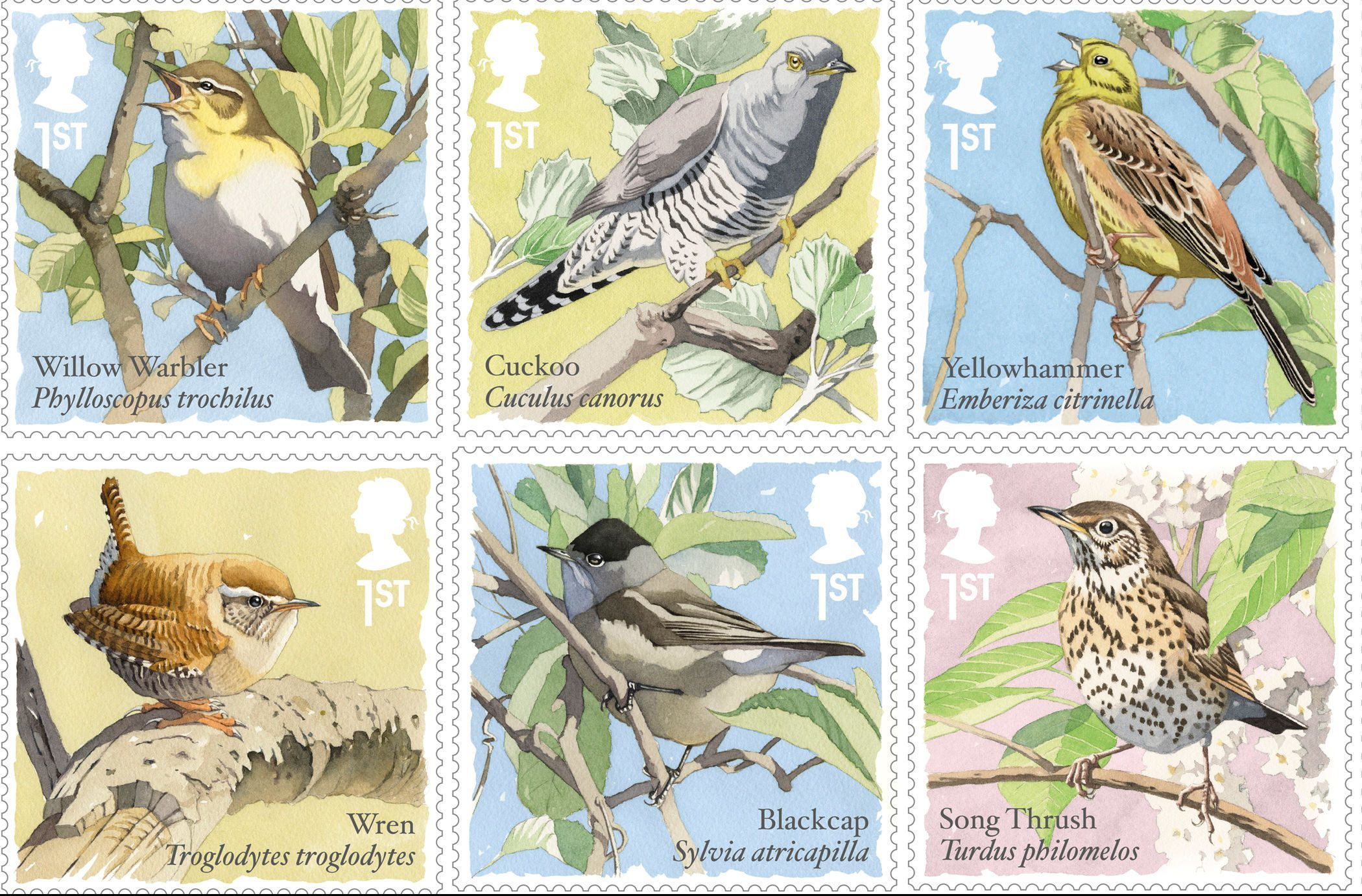The stamps explore some familiar and less well-known varieties of songbirds, to mark International Dawn Chorus Day (Royal Mail/PA Wire)