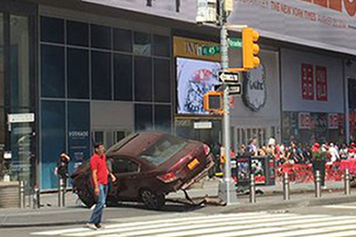 Times Square, New York, USA where a car mounted the pavement injuring pedestrians (Josh Silverman/PA Wire)