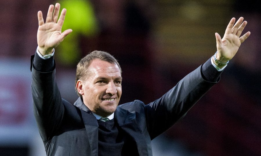 Celtic manager Brendan Rodgers applauds the fans at full time after a 5-0 win over Partick (SNS Group / Alan Harvey)