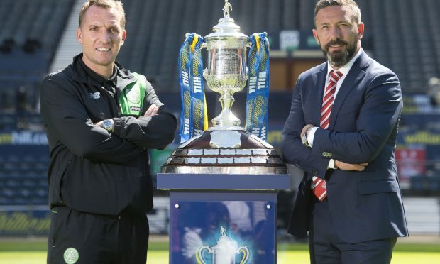 Celtic manager Brendan Rodgers (left) and Aberdeen manager Derek McInnes look ahead to the William Hill Scottish Cup final (SNS Group / Craig Foy)