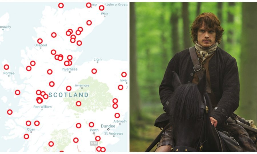 The map features clan battles from Outlander (Neil Davidson / Sony Pictures)