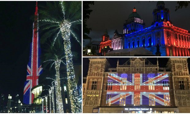 Landmarks across the world have been paid tribute to the victims