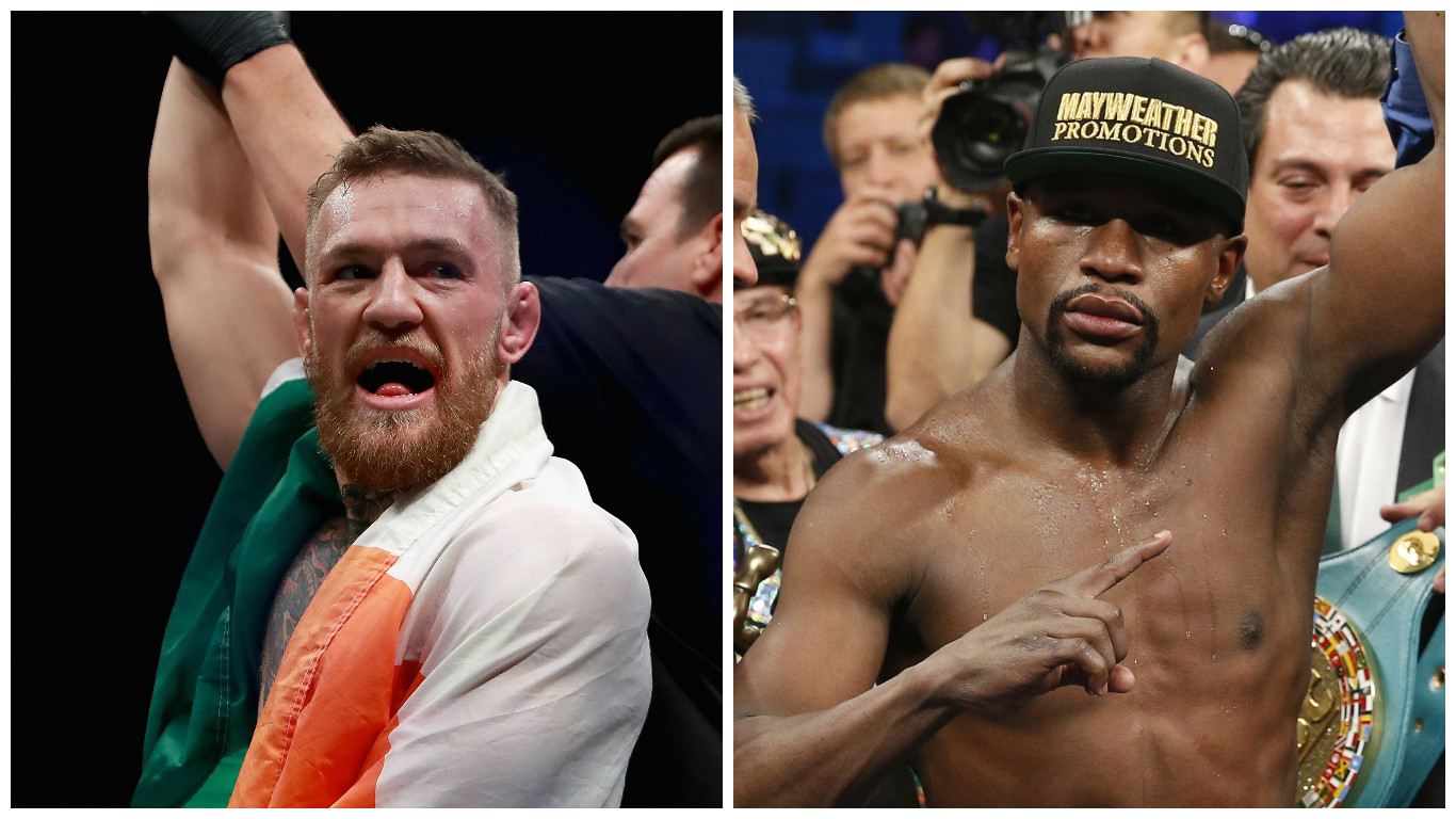 Conor McGregor looks set to finally take on Mayweather Jr. in the highly anticipated clash (Michael Reaves/Getty Images & AP Photo/John Locher)