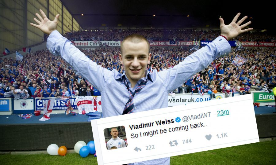 Vladimir Weiss, who won the title with Rangers in 2011, sent out the tweet this afternoon (SNS Group / Craig Watson)