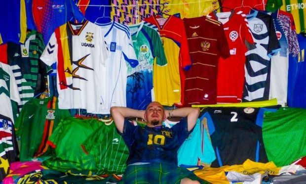 Football fan Joe Johnston and his collection (@GlobalObsession)