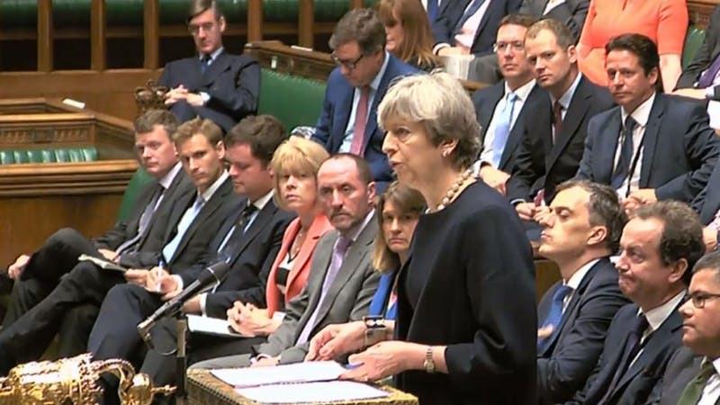 Theresa May in Parliament (PA)