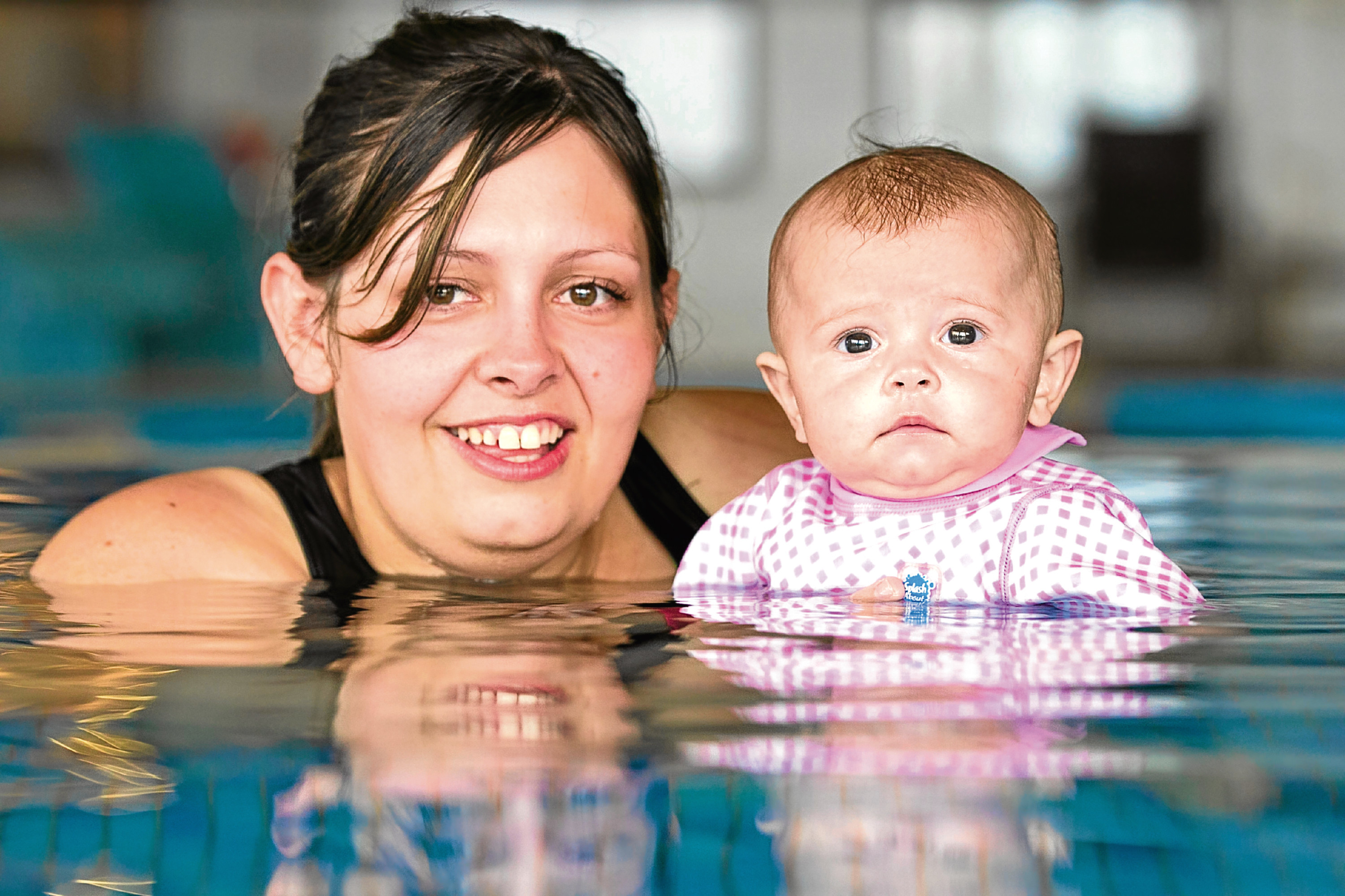 "Ella-Ray does ""Water Baby"" swimming lessons which is good for her lungs. (Andrew Dawley, Sunday Post)"